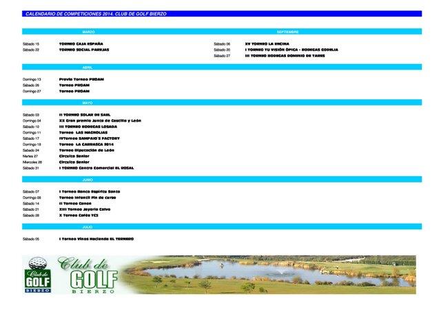 Golf Bierzo - Calendario de competiciones - Golf Bierzo Casaclub